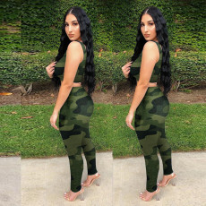 Camo Print Tank Top Stacked Pants Two Piece Sets LLF-8817