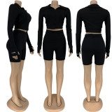 Letter Embroidery Long Sleeve Crop Top And Shorts Two Piece Set FNN-8530
