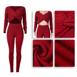 Sexy Solid Color Sweater Two Piece Set PN-6610
