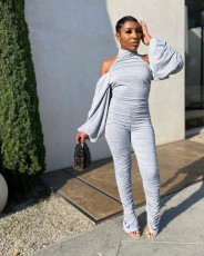 Sexy Backless Long Sleeve Ruched Jumpsuits QY-5209