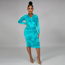 Fashion Tie Dye Long Sleeve Midi Dress PN-6606