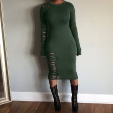 Plus Size Solid Hole Long Sleeve Slim Midi Dress OJS-9043