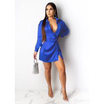 Sexy Solid V Neck Long Sleeve Shirt Dress SHE-7121