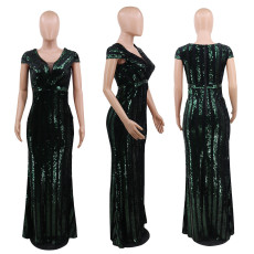 Sexy V Neck Sequined Maxi Evening Dress CYA-8692