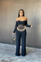 Sexy Off Shoulder Long Sleeve Top And Pants Two Piece Set XYF-9051