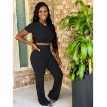 Plus Size Fashion Casual Solid Color Pants Two Piece Set XYF-9050
