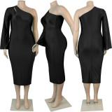 Plus Size 5XL Sexy One Shouder Midi Dress NY-2036