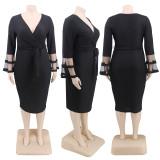 Plus Size 4XL V Neck Sashes Midi Dress CYA-1274