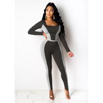 Plus Size Contrast Color Long Sleeve 2 Piece Pants Set SHE-7217