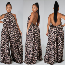 Plus Size 5XL Sexy Leopard Halter Wide Leg Jumpsuits NY-2033