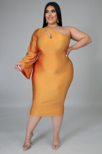 Plus Size 5XL Sexy One Shouder Midi Dress NY-2036
