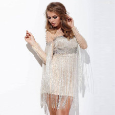 Plus Size 4XL Sexy Tassel Beading Mini Dress CYA-1277