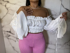 Sexy Off Shoulder Pleated Long Sleeve Crop Tops MUL-147