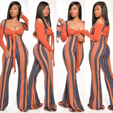 Geometric Print Crop Top Strap Pants 2 Piece Sets GLF-8040