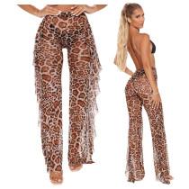 Sexy Mesh See Through Printed Ruffled Pants SMR-9763-1