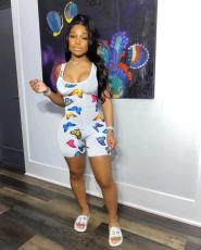 Sexy Sleeveless Butterfly Print Romper MSF-8008