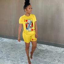 Fashion Casual Poker Print T shirt Shorts Two Piece Set MSF-8012