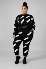 Plus Size 5XL Letter Print Sweatshirt 2 Piece Sets BMF-030