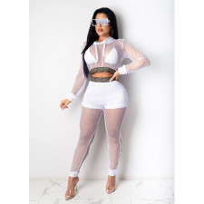 Plus Size Sexy Mesh Hollow Hooded Two Piece Sets CQ-070