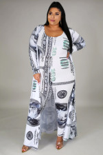 Plus Size 5XL Dollar Print Jumpsuits+Long Cloak 2 Piece Sets BMF-035