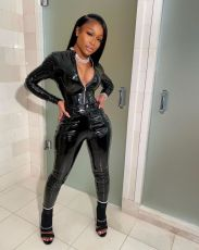 Black Bright Leather Zipper Long Sleeve 2 Piece Sets LSD-9010