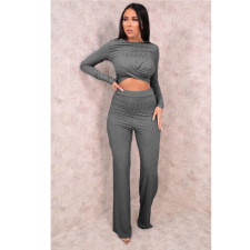 Solid Long Sleeve Two Piece Pants Set SMR-9755