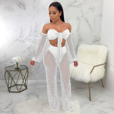 Sexy Off Shoulder Hollow Out Two Piece Pants Set SMR-9736