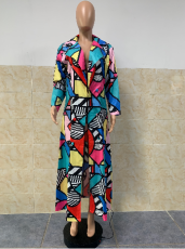 Geometric Print Notched Neck Long Coat GLF-8038