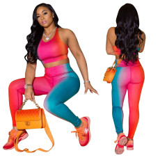 Gradient Tank Tops And Pants Two Piece Sets LSD-8797