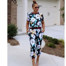 Floral Print Short Sleeve Two Piece Pants Set SMR-9747