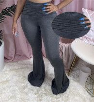 Solid Ruched Skinny Long Flared Pants LSD-8778