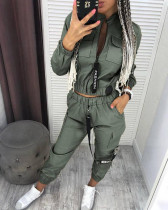Casual Zipper Coat Cargo Pants Two Piece Sets LSD-9018
