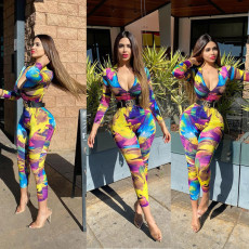 Casual Printed Zipper Long Sleeve Jumpsuits Without Belt RUF-1688