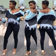 Fashion Casual Contrast Color Splice Sweater MOS-857-1