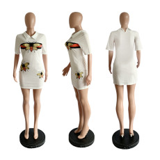 Butterfly Print Polo Collar Short Sleeve Mini Dress RUF-8013