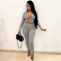 Casual Long Sleeve Two Piece Pants Set YIS-846