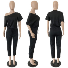 Solid Short Sleeve Casual One Piece Jumpsuits RUF-8123