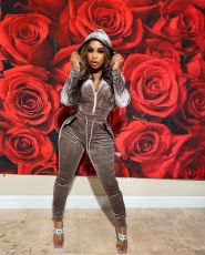 Casual Velvet Hooded Two Piece Pants Set MYF-128