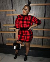 Plaid Sweater Tops+Bodycon Skirt Two Piece Sets ZSD-078