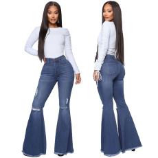 Plus Size Denim Skinny Flared Jeans HSF-2323
