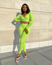 Solid V Neck Long Sleeve Two Piece Pants Set RUF-8016