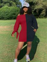 Contrast Color Oblique Shoulder Long Sleeve Mini Dress MLF-1877