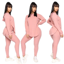 Fashion Casual Solid Color Split Hoodie Sweatshirt Two Piece Set MYP-8942