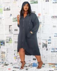 Plus Size Casual Loose Hooded Zipper Midi Dress NM-8321