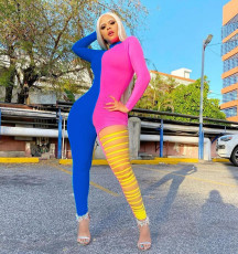 Contrast Color Long Sleeve Hole Hollow Jumpsuits MAE-2066