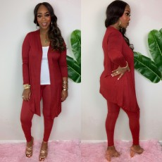 Solid Long Cloak And Pant Two Piece Sets QZX-6165