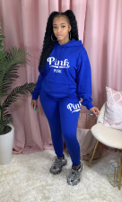 Fashion Sports Casual Pink Letter Print Hooded Sweatshirts Two Piece Set LQ-5887