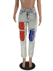 Fashion Print Patchwork Jeans LQ-5882