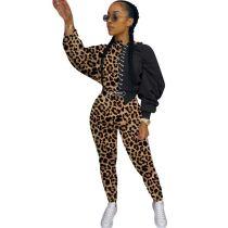Plus Size Leopard Camo Plaid Print Two Piece Pants Set MTY-6350-1