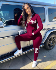 Fashion Casual Pink Letter Print Zipper Sports Two Piece Set LQ-5886